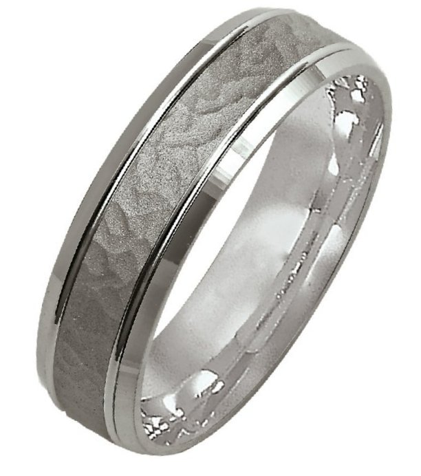 46cd6766625d 14K White gold Hammered Wedding Band. View Larger Image